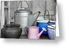 Watering Cans And Buckets Greeting Card