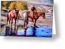 Watering The Horses Greeting Card