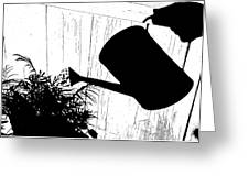 Watering Time Shadow Greeting Card