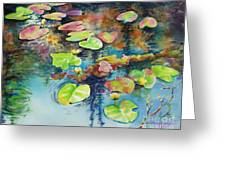 Waterlilies In Shadow Greeting Card