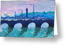 Waterloo Bridge Homage To Monet Greeting Card by Kevin Croitz