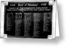 Waterloo Roll Of Honor 1914 1918 Greeting Card