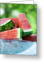 Watermelon Wedges In A Bowl Of Ice Cubes Greeting Card