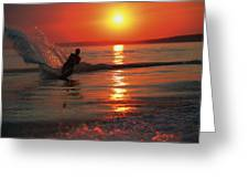 Waterskiing At Sunset Greeting Card