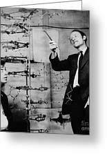 Watson And Crick With Dna Model Greeting Card