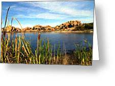Watson Lake Greeting Card by Kurt Van Wagner