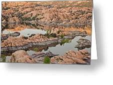 Watson Lake Sunset Greeting Card by Angie Schutt