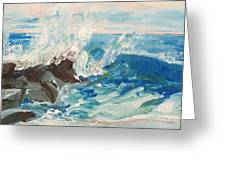 Wave At Sunset Beach Greeting Card