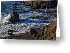 Wave Breaking On Rock Greeting Card