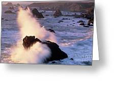 Wave Crashing On Sea Mount California Coast Greeting Card