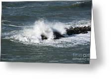 Wave On The Rocks Greeting Card