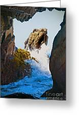 Wave Through The Cave At Pfiffer Beach In Big Sur Greeting Card