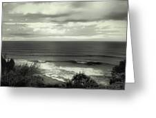Wave Watching In Black And White - Kauai - Hawaii Greeting Card