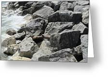 Waves And Rocks 4 Greeting Card