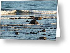 Waves And Rocks Greeting Card