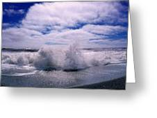 Waves Breaking At The Coast, Iceland Greeting Card