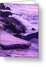 Waves  Breaking  On Jetties  Greeting Card
