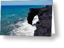 Waves Breaking On Rocks, Hawaii Greeting Card
