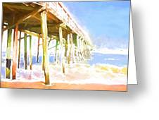 Waves By The Pier Greeting Card