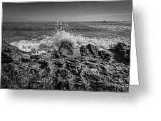 Waves Crashing Bw Greeting Card