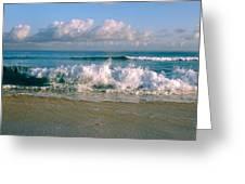 Waves Crashing On The Beach, Varadero Greeting Card