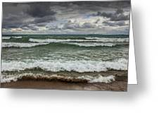 Waves Crashing On The Shore In Sturgeon Bay At Wilderness State Park Greeting Card