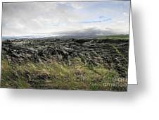 Waves Of Clouds Sea Lava And Grass Greeting Card