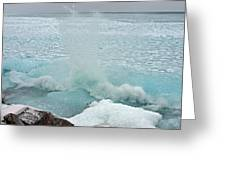Waves Of Pancake Ice Crashing Ashore Greeting Card