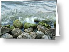 Waves On Mossy Rocks 2 Greeting Card