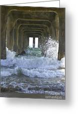Waves Under The Pier Portrait Greeting Card