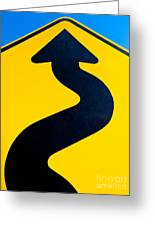 Wavy Arrow Concept Of Winding Road To Success Greeting Card
