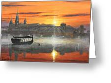 Wawel Sunrise Krakow Greeting Card