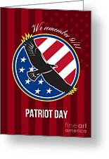We Remember 911 Patriot Day Retro Poster Greeting Card by Aloysius Patrimonio