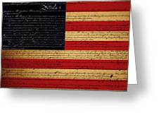 We The People - The Us Constitution With Flag - Square Greeting Card