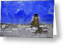 Weathered Blue Wall Of Old World Europe Greeting Card