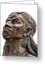 Weathered Statue Of Inca Warrior Greeting Card