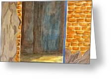 Weathered Wall With Doorway Greeting Card by Bav Patel