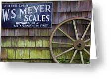Weathered Wood Wagon Wheel Greeting Card by David Letts