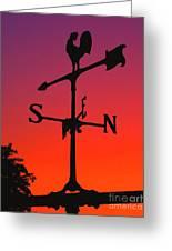Weathervane At Sunset Greeting Card
