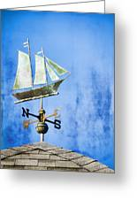 Weathervane Clipper Ship Greeting Card by Carol Leigh