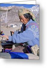 Weaving Scarves In Muktinath Greeting Card