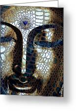 Web Of Dharma - Modern Blue Buddha Art Greeting Card