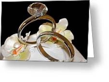 Wedding Cake Rings Black Greeting Card