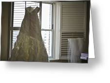 Wedding Dress And Veil By The Window Greeting Card