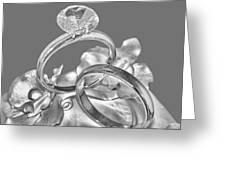 Wedding Ring Cake Gray Greeting Card