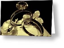 Wedding Rings Cake Top Blk Antiqued Greeting Card