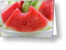 Wedge Of Watermelon, A Bite Taken, In A Glass Bowl Greeting Card