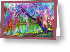 Weeping Beauty, Cherry Blossom Tree And Heron Greeting Card