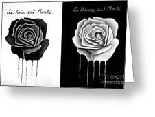 Weeping Black And White Roses Greeting Card