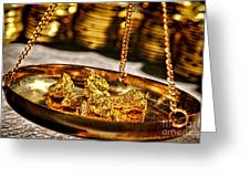 Weighing Gold Greeting Card